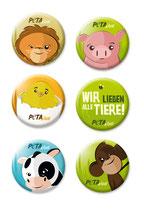 Freche Buttons mit lustigen Tiergesichtern