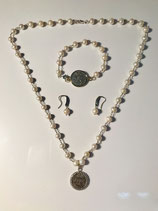 Silver and Pearl Necklace with Bracelet and Earrings with a one of a kind coin pendant.