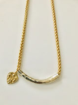 Hammered Silver Slide and Gold Necklace