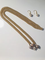Matted Gold Braided Chain with Pearls Dangling w/Earrings