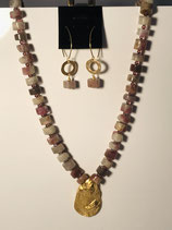 Gold Shell Pendant with Rhodochrosite gemstones which has pinks and pale brown colors.