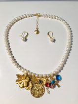 Pearl Necklace with Charms and Gemstones