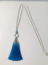 Silver with Teal Tassel Necklace