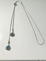 Silver Necklace with Tear Drop Labradorite Gemstone Drops