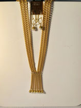 Beautiful Triple Strand Gold Necklace with six dangle strands.  This has matching earrings
