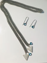 Silver Braided Chain with Triangle Gemstone Drop Necklace w/Earrings