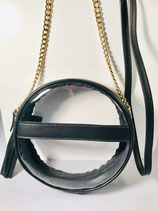 Black Leather Clear Bag with Gold Chain Handle