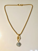 Gold Cable Chain with gemstone drop.  Measures 20 inches.