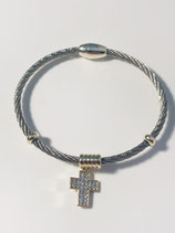 Two Toned Bracelet with a Cross w/Crystals - Magnetic Close