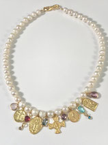 Medal and Gemstone Pearl Necklace