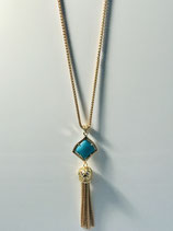 Turquoise and Gold Tassel Necklace