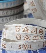 Grundpreis pro Meter = 0,03 € - 91,4 cm Waschanleitung, Größe - Etikett, Borte