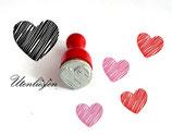 Herz, gestrichelt - Ministempel