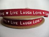 2 m Schleifenband, Borte -  ❤ LIVE LAUGH LOVE❤ rot