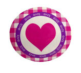 Grundpreis pro Stück = 0,15 € - 10 Sticker Herz 40 mm, lila + grün