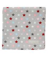 Stoffserviette Sterne bunt/grau