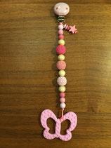 Beissring mit Kette rosa/pink