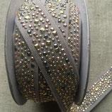GALON RUBAN CLOUTE elastique COLORIS BEIGE/LIN 2,5 CM