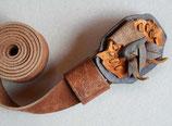 Gürtel mit Leder-Collage-Schnalle