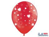 roter Ballon mit weissen Herzen