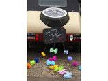 Autoschild Tafel mit Tüll PomPoms