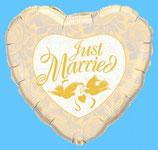 """Folien Herzballon """"Just Married"""""""