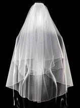 Brautschleier 2-stufig mit offener Kante