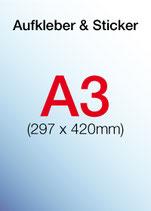 Aufkleber & Sticker drucken  Format: DIN A3 297x420 mm