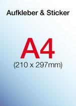 Aufkleber & Sticker drucken  Format: DIN A4 210x297 mm