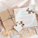 Invitación boda Puzzle Travel