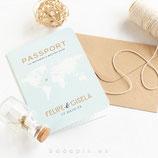 Invitación boda Passport