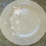 Glas-/Platzteller mit Sternen, gefrostet