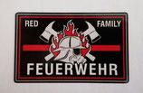 Aufkleber Feuerwehr, thin red line, red family
