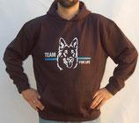"""Hochwertiges Kapuzensweatshirt mit Motiv """"Hundeführer"""" als Frontpatch"""