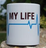 """Kaffeetasse """"Blaue Linie"""" oder """"Rote Linie"""" Motiv Herzfrequenz"""