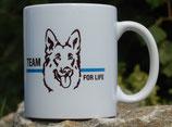 "Kaffeetasse ""Blaue Linie"" oder ""Rote Linie"" Motiv Hundeführer"