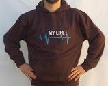 """Hochwertiges Kapuzensweatshirt mit Motiv """"My Life"""" als Frontpatch"""
