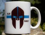 """Kaffeetasse """"Blaue Linie"""" oder """"Rote Linie"""" Motiv Spartanerhelm"""