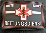 Klettpatch white family Rettungsdienst thin white line ca. 8 x 5 cm