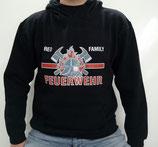 """Hochwertiges Kapuzensweatshirt mit Motiv """"Feuerwehr red family"""" als Frontpatch"""