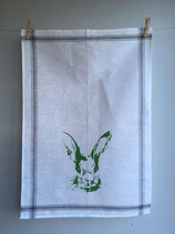 Siebdruck Geschirrhandtuch aus Halbleinen mit Hasenkopf