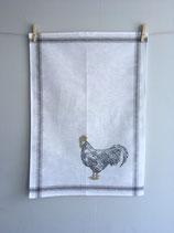 Siebdruck Geschirrhandtuch aus Halbleinen mit Hahn und goldigen Kamm