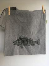 Einkaufstasche aus recycelter Baumwolle mit schwarzen Barsch