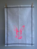 Siebdruck Geschirrhandtuch aus Halbleinen mit Hasenkopf Produktname