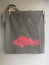 Einkaufstasche aus recycelter Baumwolle mit pinken Barsch