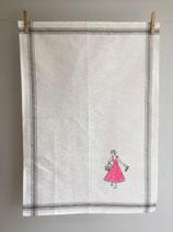 Siebdruck Geschirrhandtuch aus Halbleinen mit flotter Dame