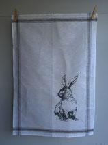 Siebdruck Geschirrhandtuch aus Halbleinen mit Hase