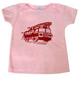 Racing Red Fire Truck On Light Pink Short Sleeved Tee