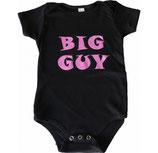 """""""Big Guy"""" Pink-on-Black SHORT Sleeved Snapsuit*"""