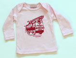 Racing Red Fire Truck On Light Pink Long Sleeved Tee